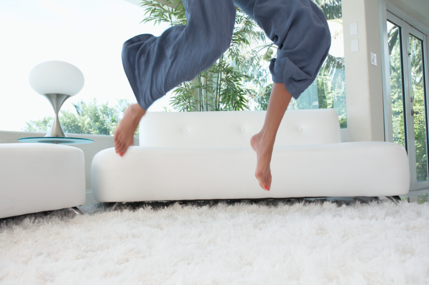 legs jumping on carpet